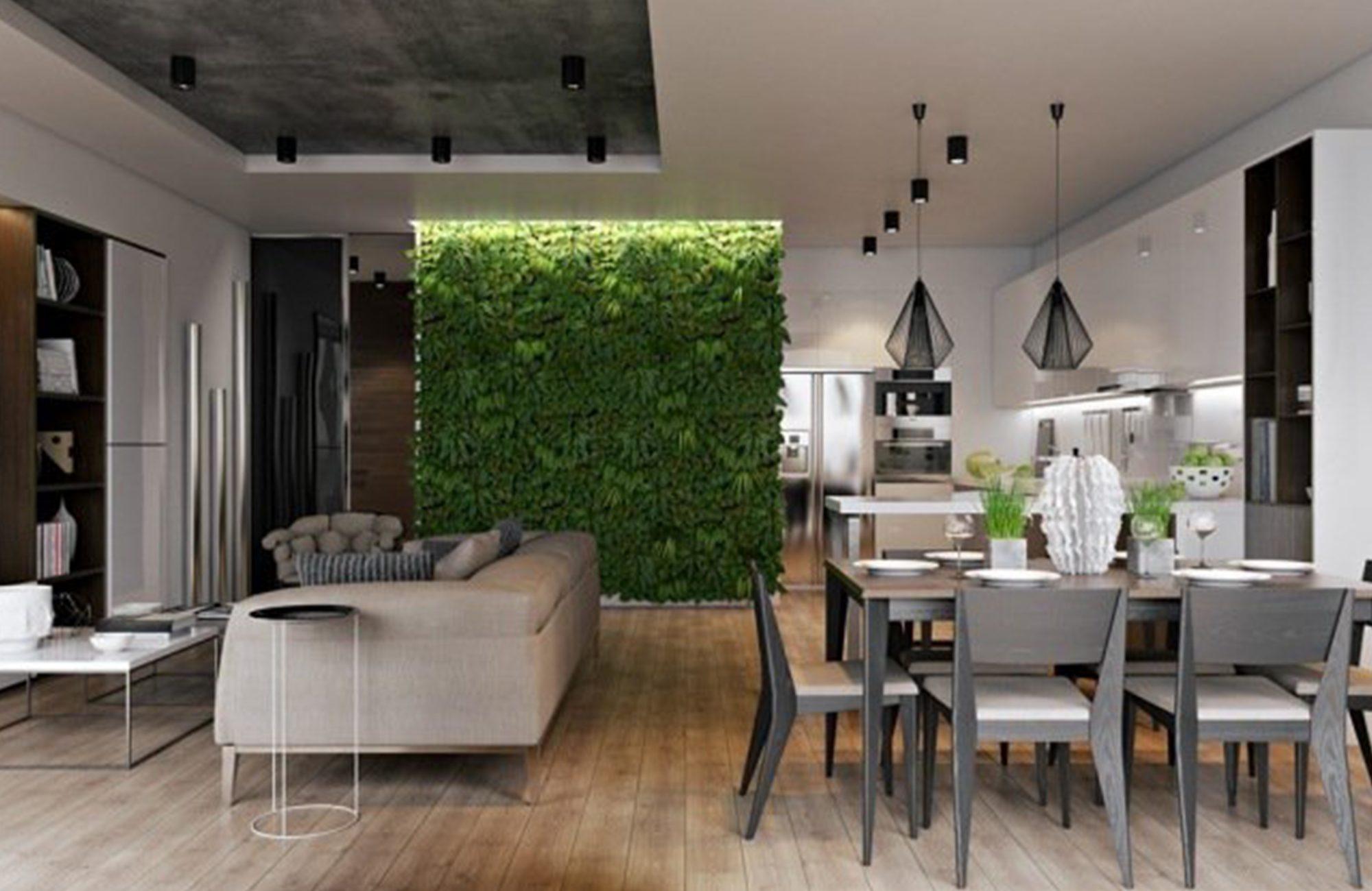 mur végétal dans salon / cuisine