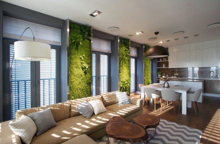 3 murs végétaux dans salon design