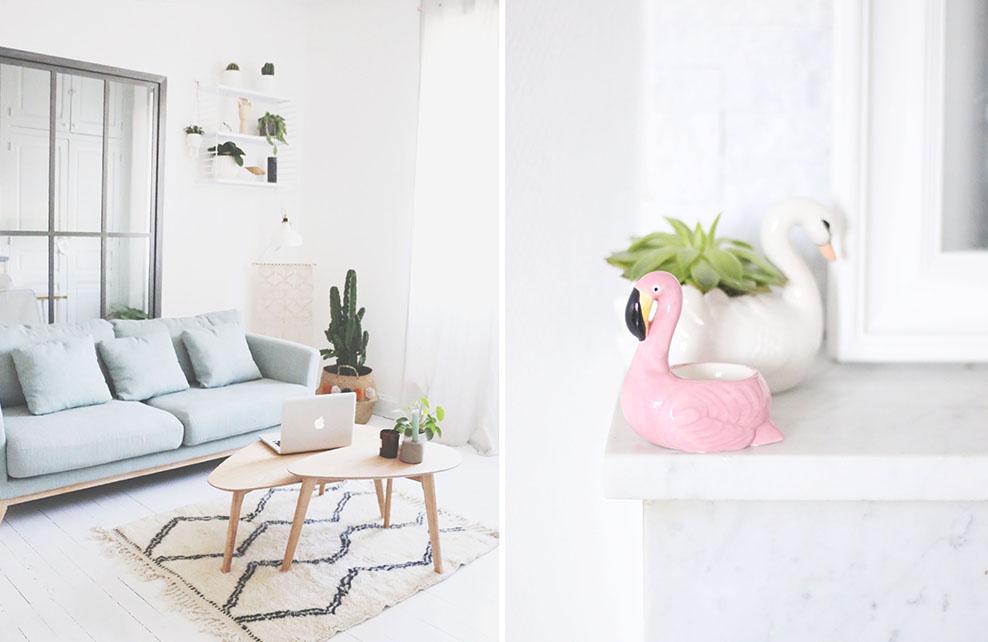salon avec parquet blanc