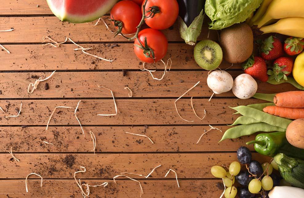 fruits et légumes posés en vrac