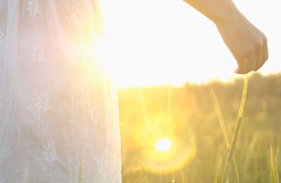 jeune fille prenant le soleil dans les herbes hautes
