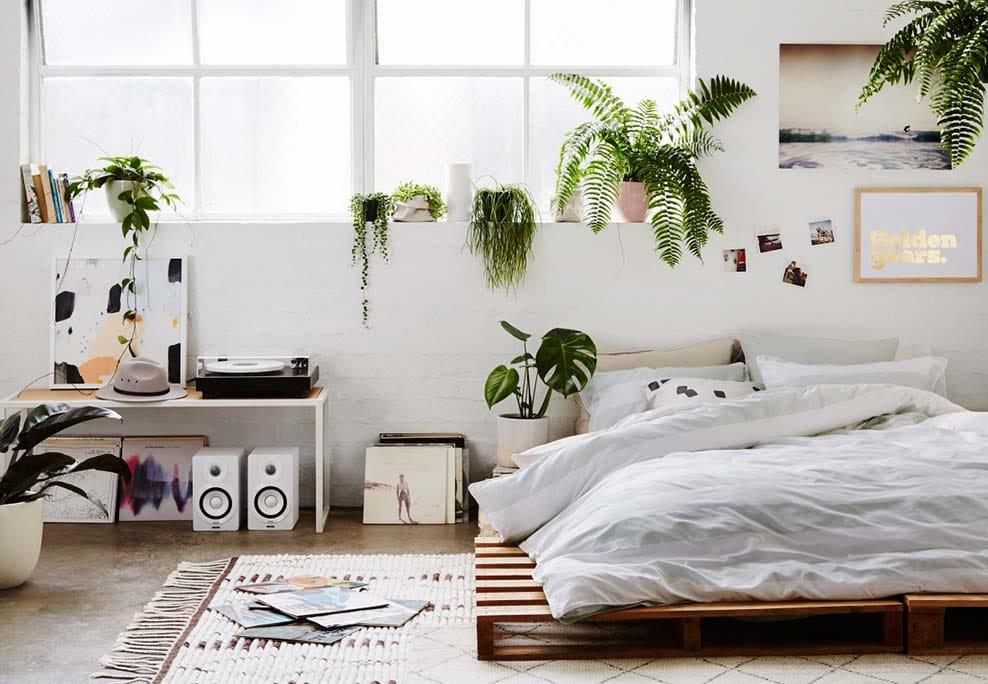 chambre d'inspiration bohème et tropicale