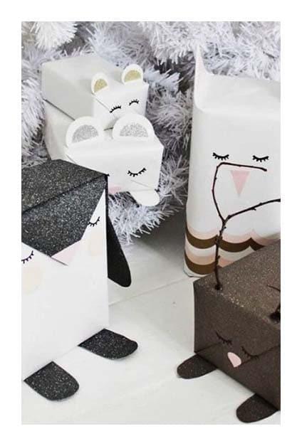Paquets cadeaux en forme d'animaux