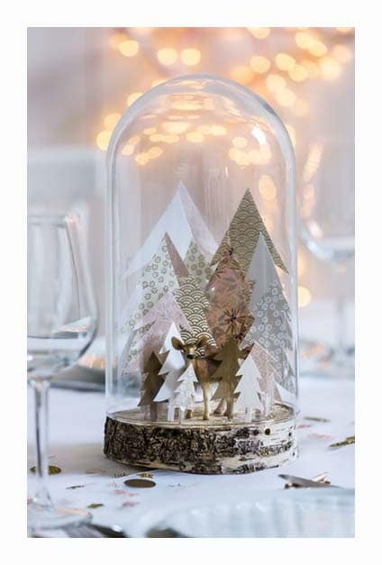 Cloche en verre avec sapins en papier