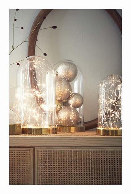 cloches en verre lumineuses pour Noël