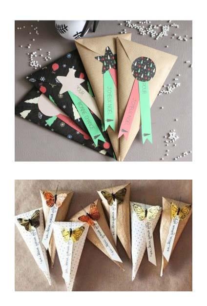 Emballages cadeaux en forme de triangles