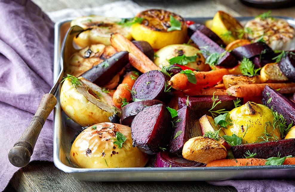 Fruits et légumes poêlés