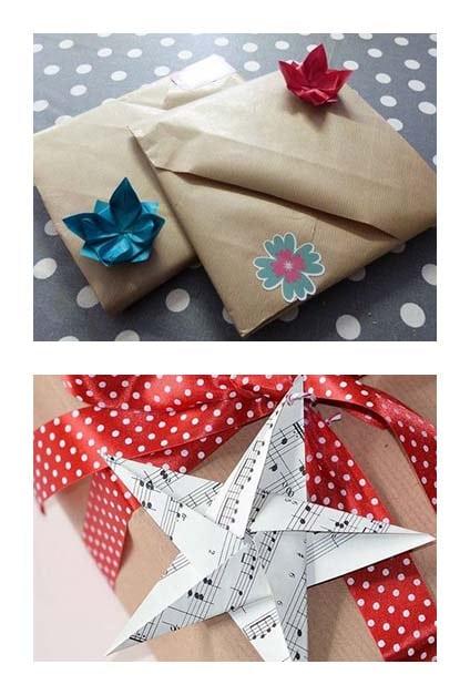 Décorations en origami sur paquets cadeaux en papier craft