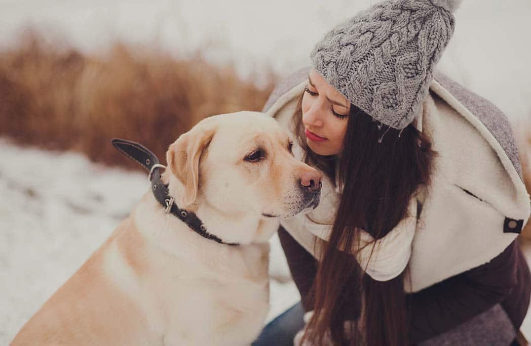 Jeune fille parlant à son labrador