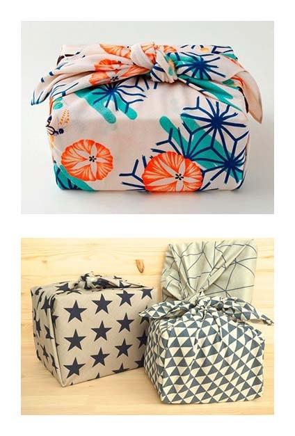 Paquets cadeaux fabriqués à partir de tissus