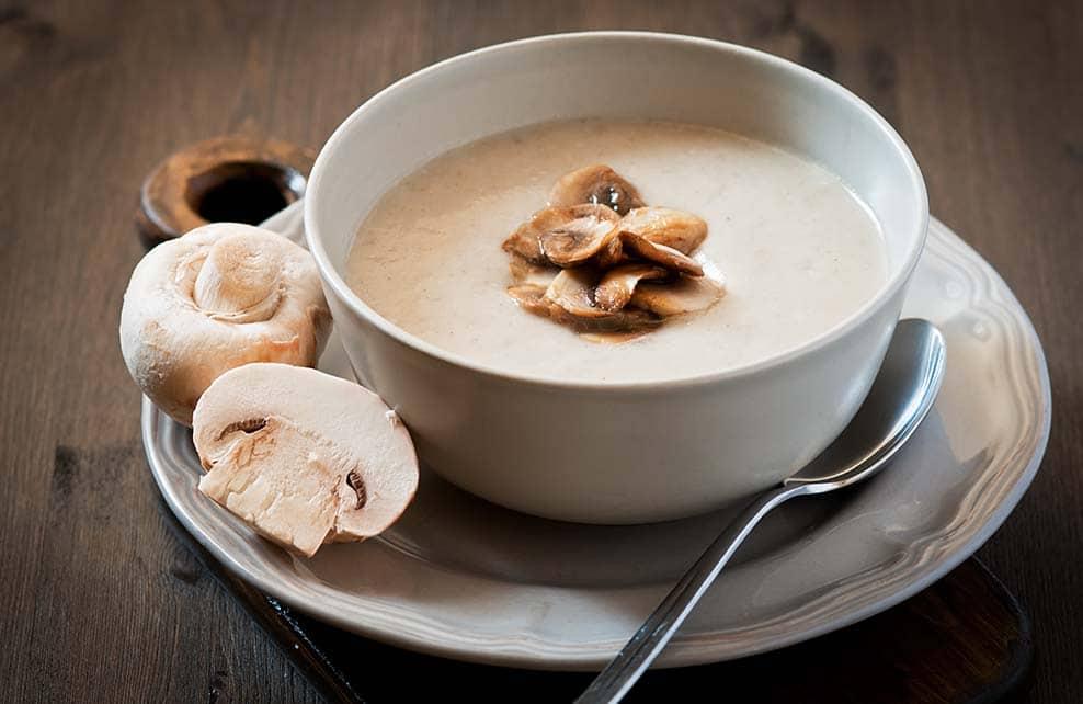 soupe de champignons de paris pour l'hiver