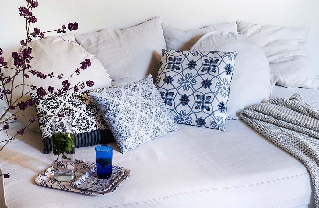 Salon dans les nuances de bleu