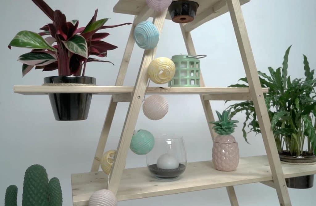 #DIY : Créer des étagères pour vos plantes avec des échelles entrecroisées