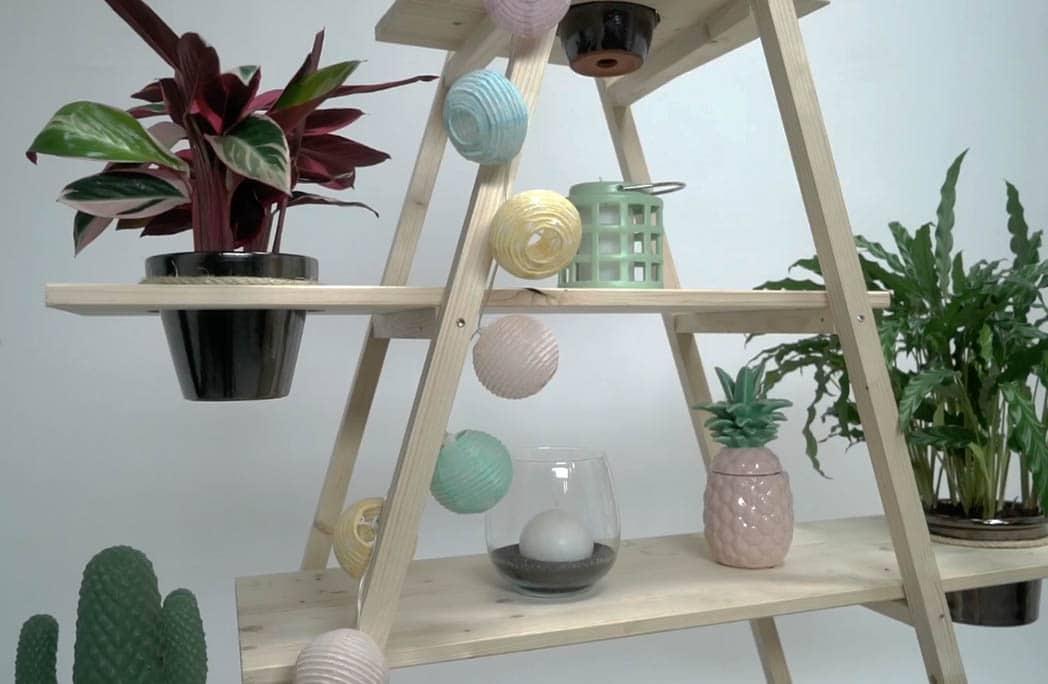 diy cr er des tag res pour vos plantes avec des chelles entrecrois es depuis mon hamac. Black Bedroom Furniture Sets. Home Design Ideas