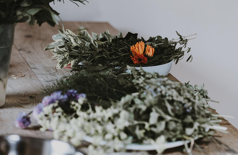 plantes séchée sur table en bois