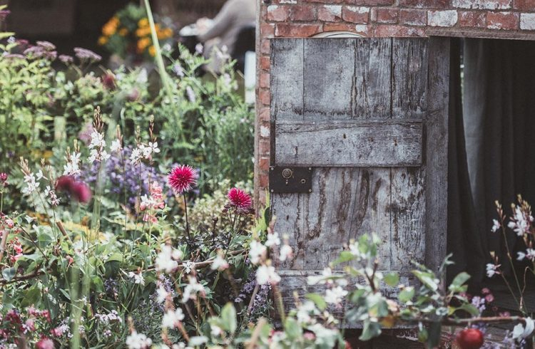 Cabanon dans un jardin fleuri