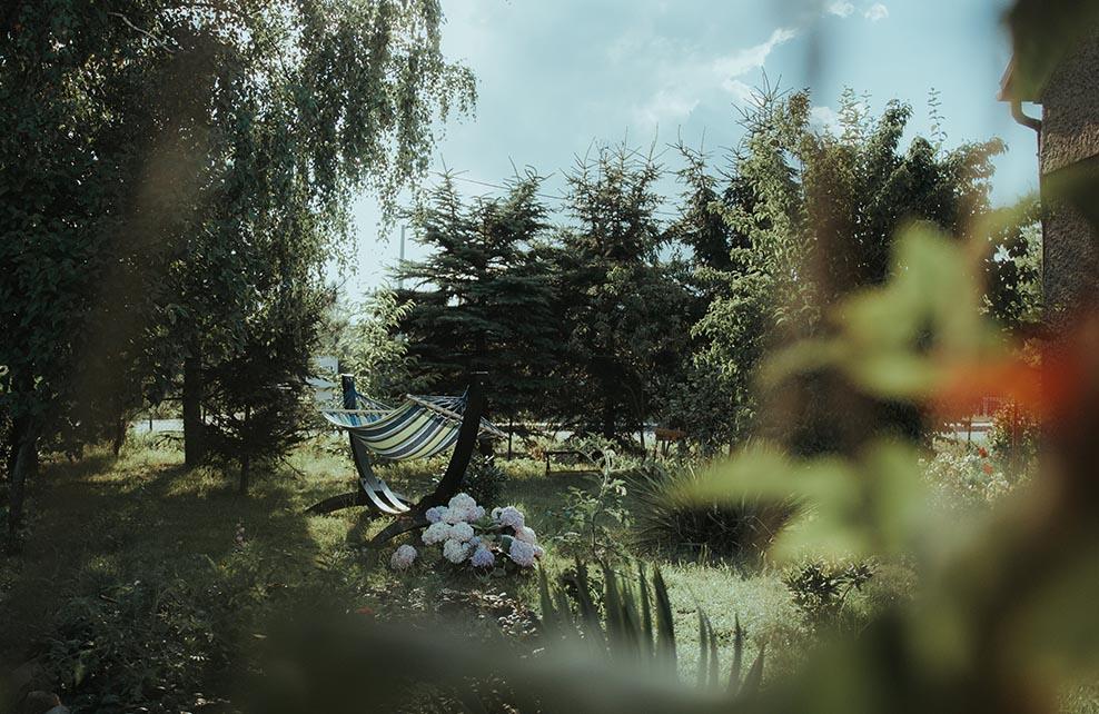 Hamac au milieu d'un jardin