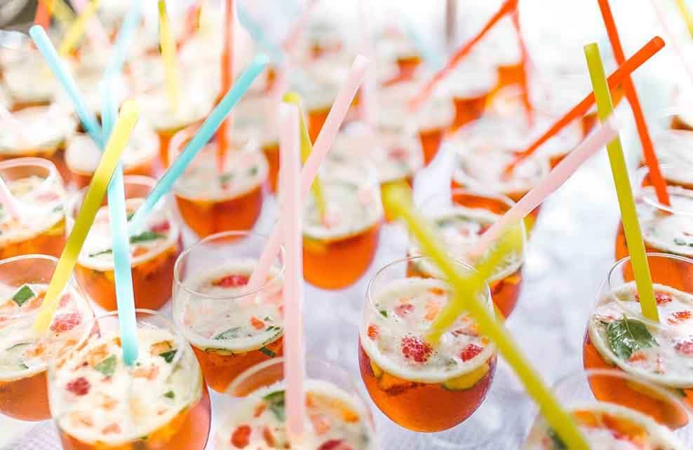 Cocktails avec pailles