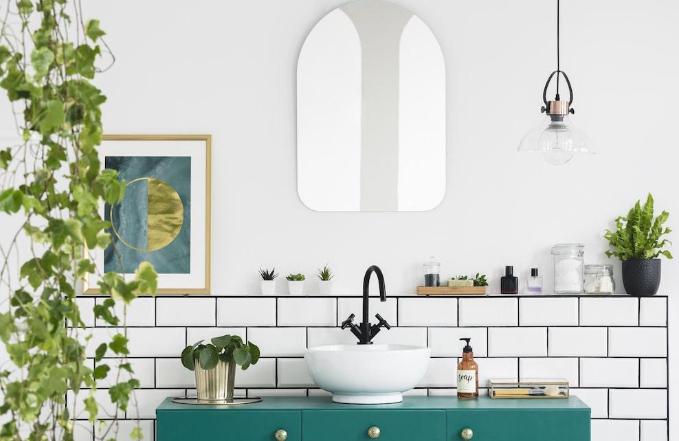 Salle de bain avec plantes, miroir et poster