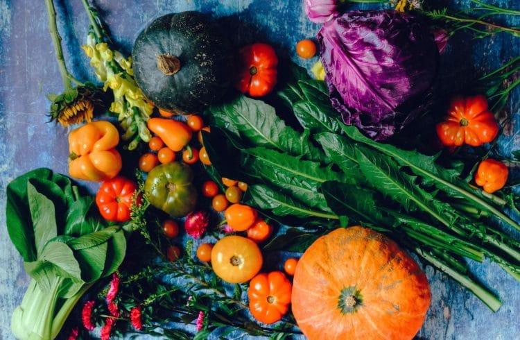 Variété de légumes sur fond bleu