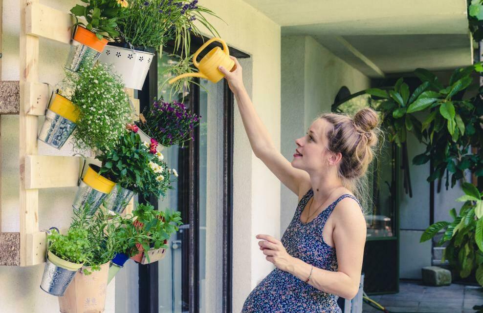 Une femme arrose ses plantes