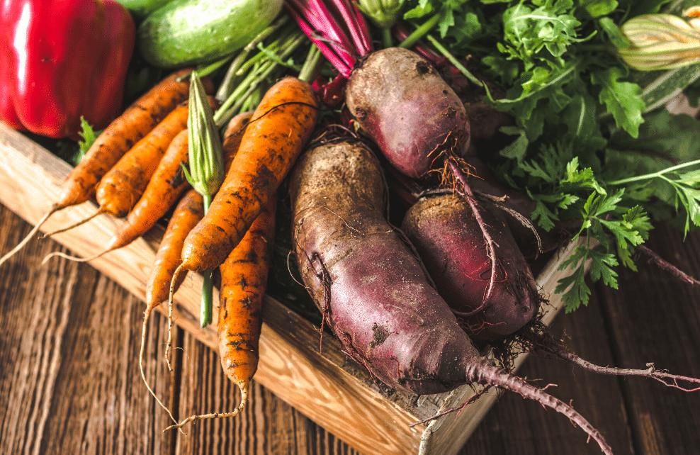 Des légumes dans une boîte