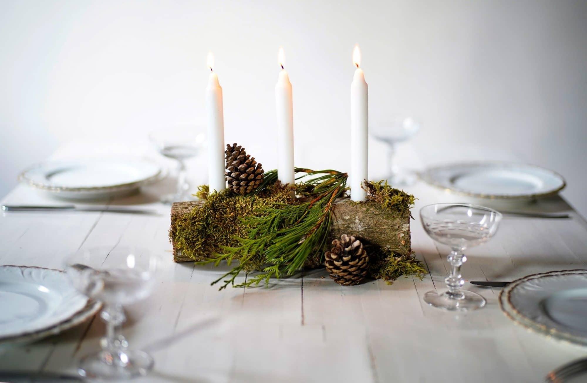Créer un bougeoir naturel avec une bûche pour Noël